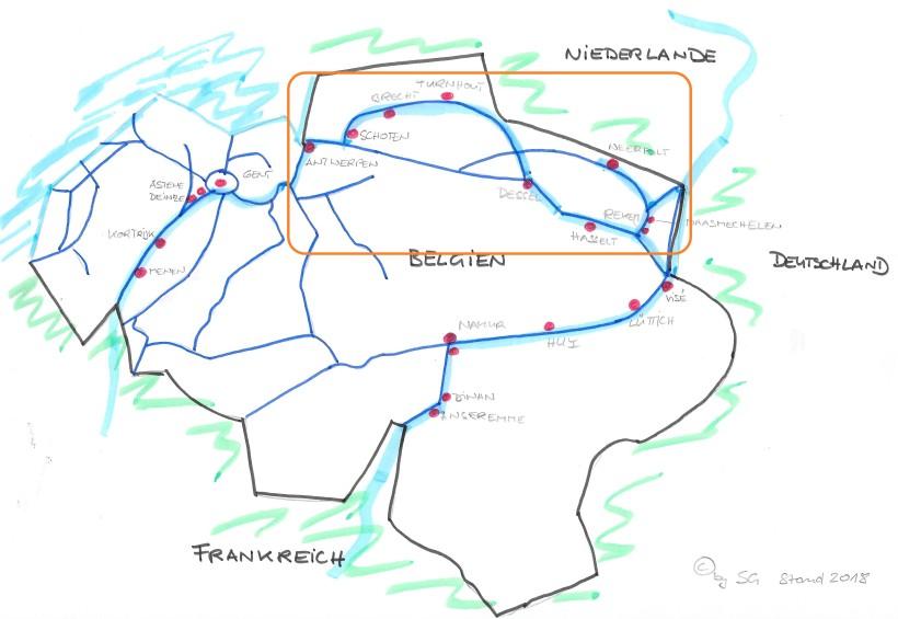 Karte Häfen Belgien 2018 Nord