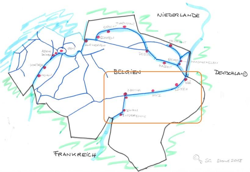 Karte Häfen Belgien 2018 Osten