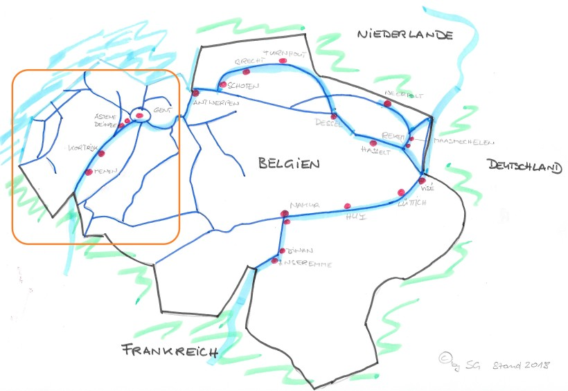 Karte Häfen Belgien 2018 Westen